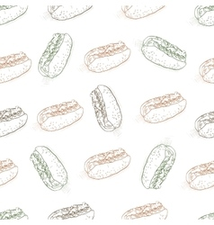 seamless pattern color hot dog scetch vector image vector image