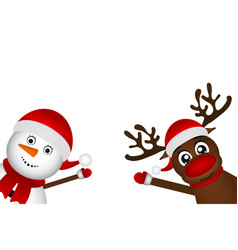 snowman with reindeer standing on a white vector image vector image