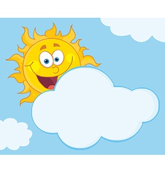 Sun Mascot Cartoon Character Hiding Behind Cloud vector image vector image