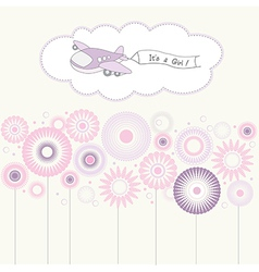 Baby girl announcement card with airplane vector