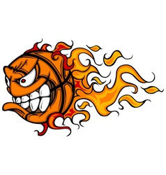 Flaming Basketball Face Cartoon vector image vector image