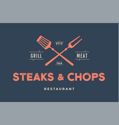 label of restaurant with grill symbols vector image