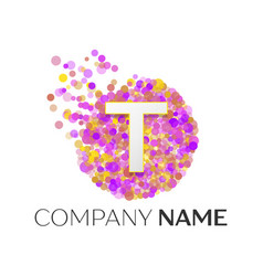 letter t logo with purle particles and bubble dots vector image vector image