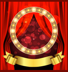 stage with circle light bulbs and ribbon vector image vector image