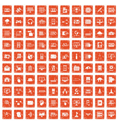100 database and cloud icons set grunge orange vector image