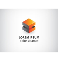 3d orange and grey abstract cube logo vector