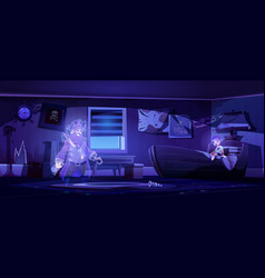 Abandoned kids room at night with pirate ghost vector