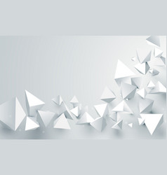 abstract white 3d pyramids chaotic background vector image