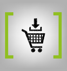 add to shopping cart sign black scribble vector image