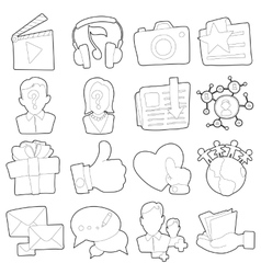 Advertisement icons set outline cartoon style vector