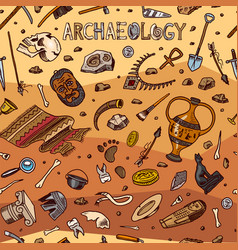archeology seamless pattern tools and science vector image