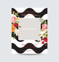 Baby shower invitation photo frame vector