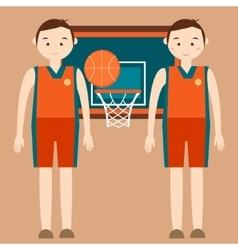 Basketball player standing in front of basket ring vector