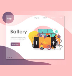 Battery website landing page design vector