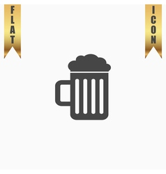 Beer mug flat icon vector image