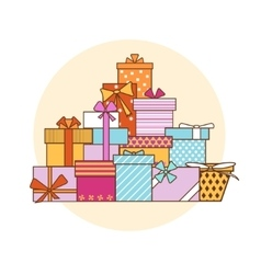 Big Pile Colorful Gift Boxes vector