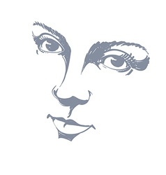 Black and white of lady face delicate visage featu vector image