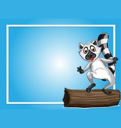 Border template with cute lemur vector