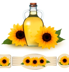 Bottle of sunflower oil with flower and labels vector