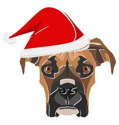 Boxer with red santa hat vector