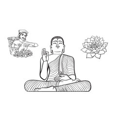 Buddha statue woman tea picker lotus flower vector
