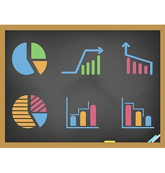 business diagram icons on blackboard vector image