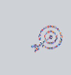 Businesspeople crowd gathering in shape target vector