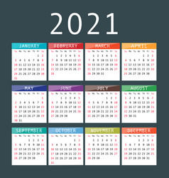 Calendar for 2021 year vector