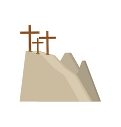 Calvary hill three crosses vector