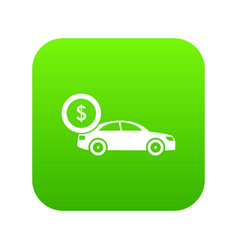 Car and dollar sign icon digital green vector