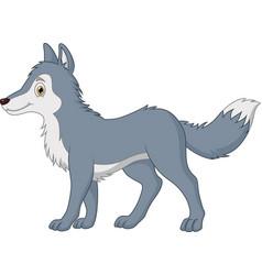 Cartoon cute wolf walking vector