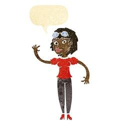 Cartoon pilot woman waving with speech bubble vector