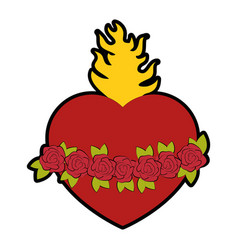 Catholic sacred heart symbol vector