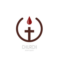 church logo a drop blood jesus drips vector image