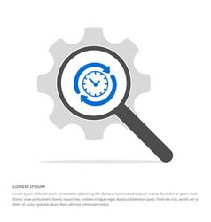 clock icon search glass with gear symbol icon vector image