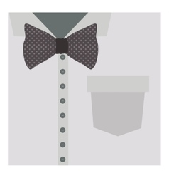 Close up formal shirt with bow tie vector
