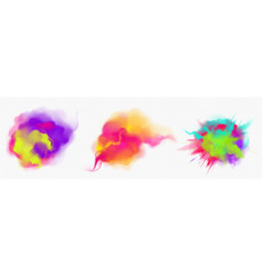 Color smoke flow and paint powder explosion vector