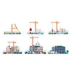 construction site stages isolated on white vector image