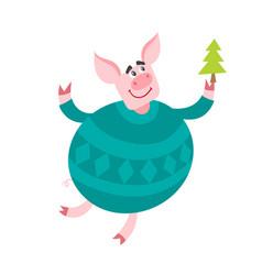 Cute cartoon pig with christmas tree isolated on vector