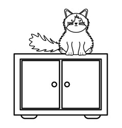 Cute little cat in wooden drawer character vector