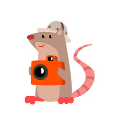 Cute rat taking pictures with a camera funny vector