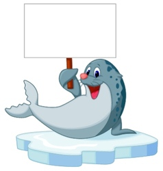 Cute seal cartoon holding blank sign vector image