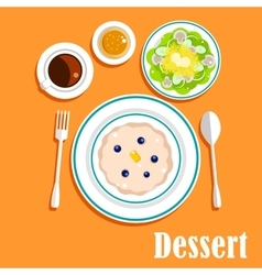 Desser cuisine with cake salad and coffee vector