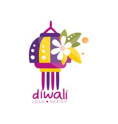 diwali logo design festival lights label vector image