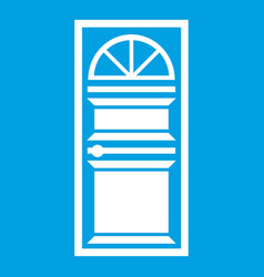 Door with an arched glass icon white vector