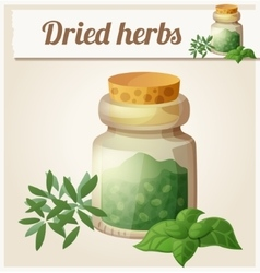 Dried herbs detailed icon vector