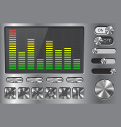 Equalizer with media player buttons on metal vector