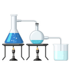 Experiment with chemical being burnt vector