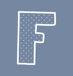 F alphabet letter with white polka dots on blue vector