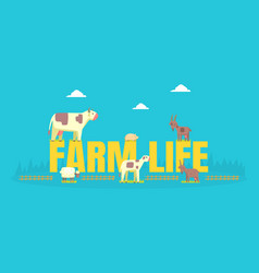farm life banner template with livestock farming vector image